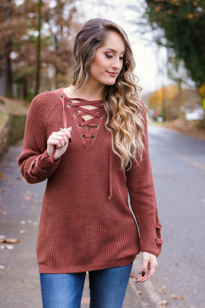 16e8afe1bc6 Cute Rust Sweater- Trendy Lace-Up Knit-  44- Juliana s Boutique