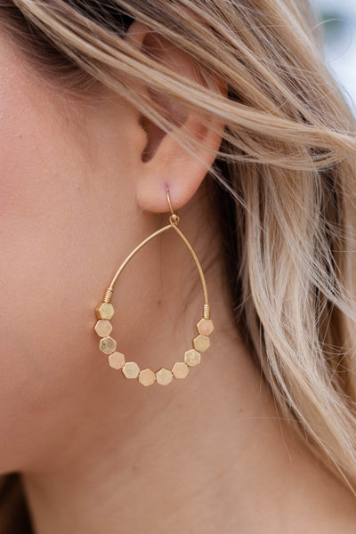 Worn Gold Hoop Earrings- Women's Trendy Jewelry- Gold Hoops- $14