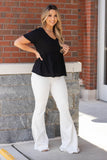 Women's V-neck White Tee- White Empire Waist Blouse- $34
