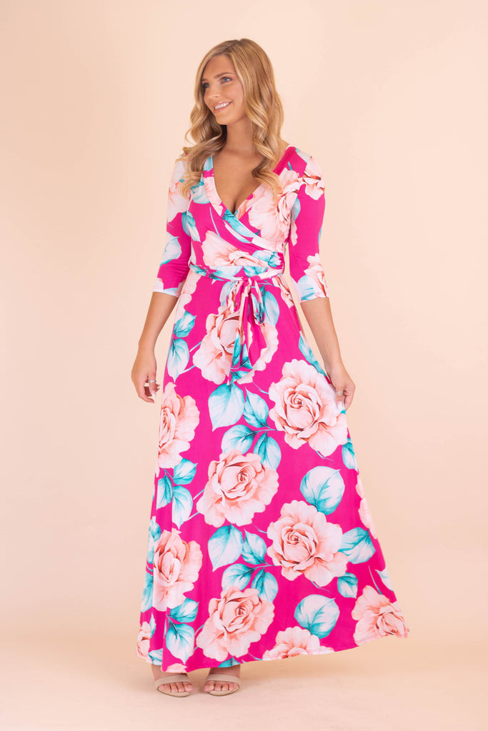 Hot Pink Floral Maxi Dress- Women's Stretchy Floral Maxi Dress- $40- Juliana's Boutique
