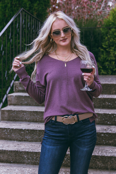 All That I Do Sweater-Dusty Plum