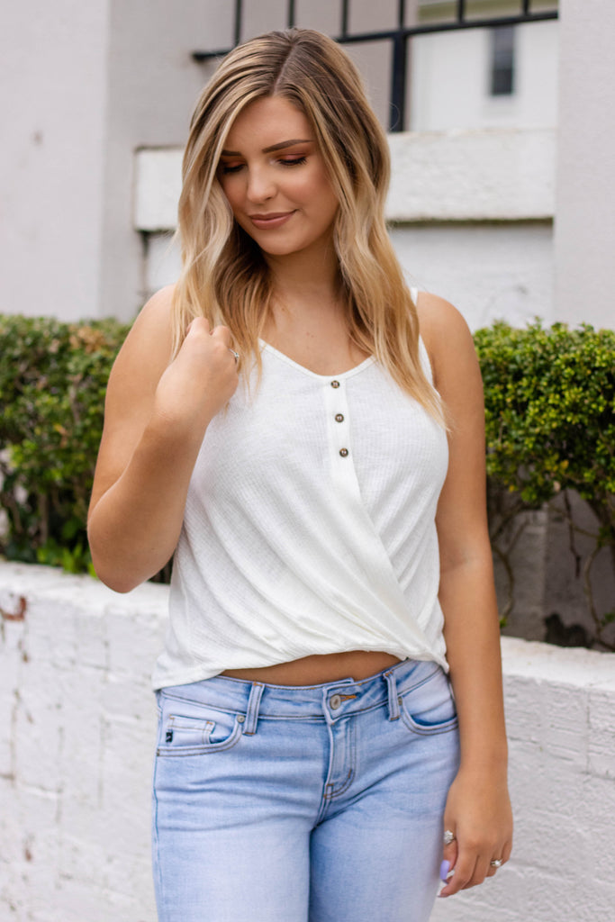 Women's Ivory Tank Top- White Crop Top- Ribbed Ivory Tank- $32