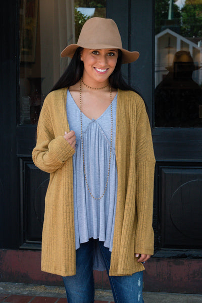 Golden Mustard Cardigan- Soft Ribbed Cardigan- Cute Fall Cardigan- $35