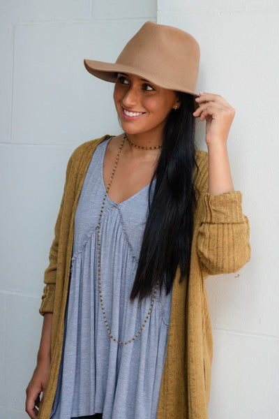 Cute Light Brown Hat- Wool Fall Hat- Floppy Fall Hat- $30