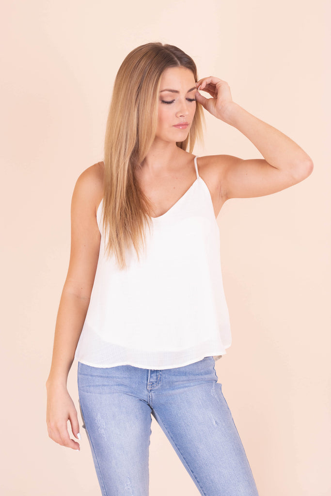 Women's Woven Camisole Tank- Women's Ivory Tank Top- $28- Juliana's Boutique