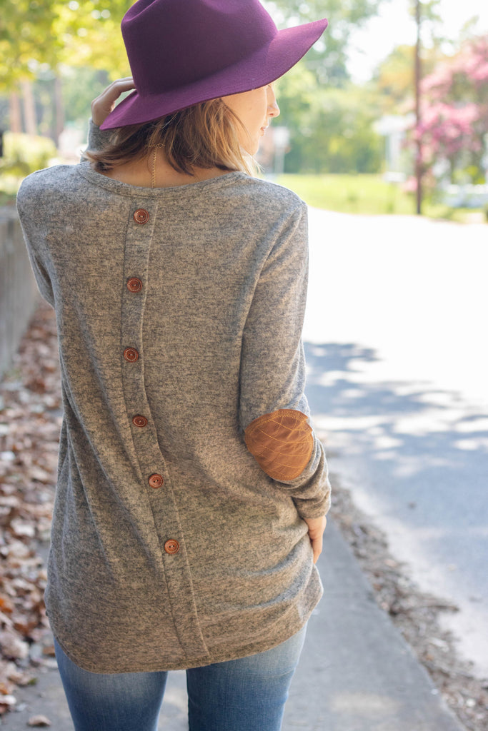 Women's Mocha Elbow Patch Top- Women's Button Back Long Sleeve Sweater- $38