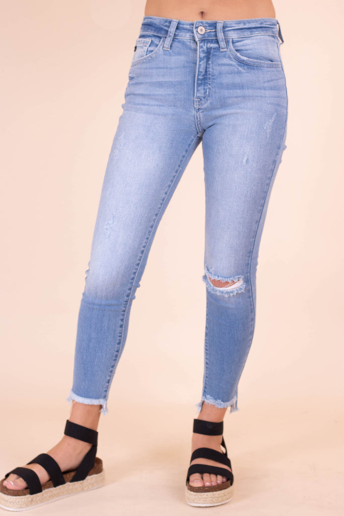Women's Light Wash Denim Jeans- Women's Light Wash Skinny Jeans- Kan Can Jeans- $42