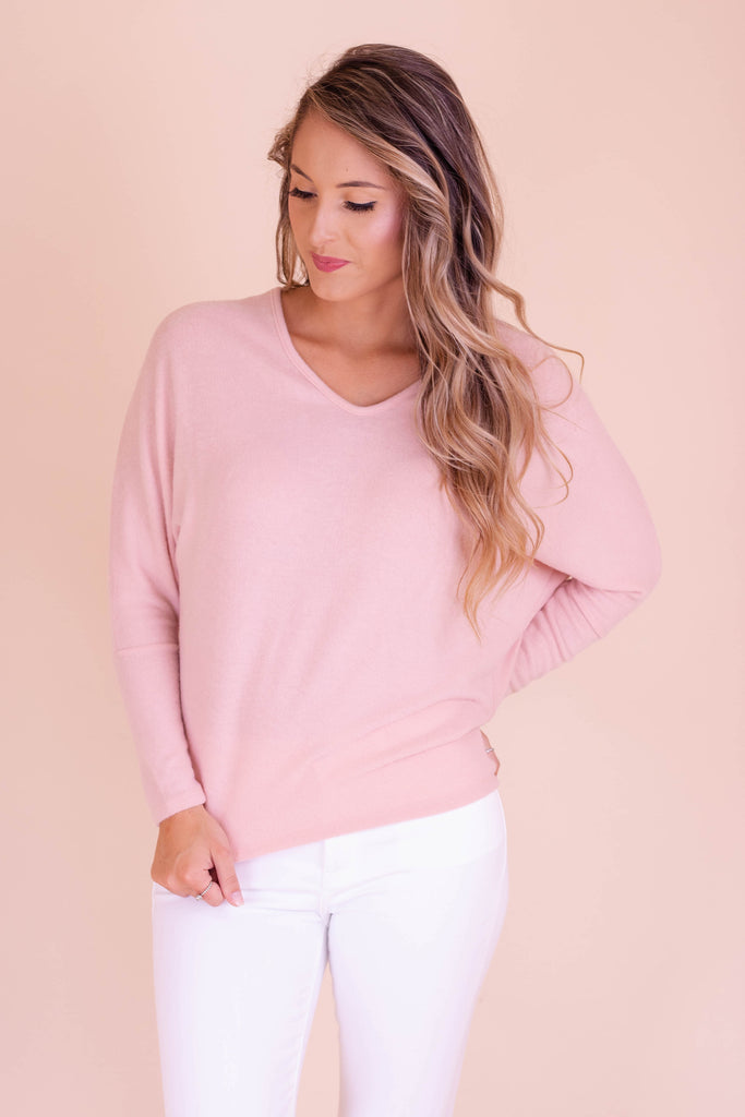 Women's Dolman Style Top- Women's Blush Pink Brushed Fabric Top- $28