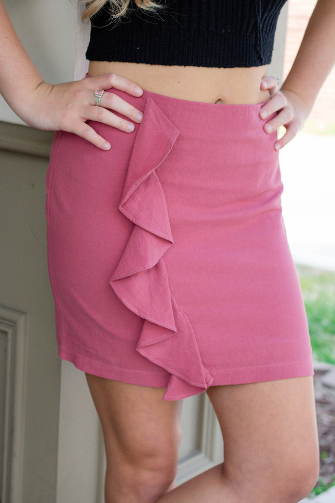 Cute Rust Mini Skirt- Ruffle Mini Skirt- $26- Affordable Online Women's Boutique