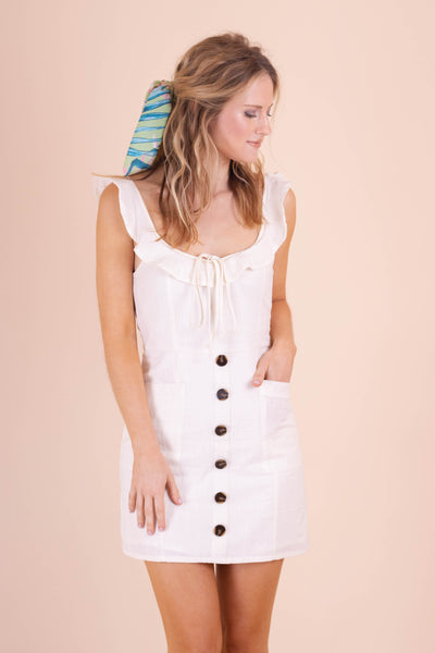 Cute White Dress- Fitted White Dress- Women's Cotton White Dress- $42