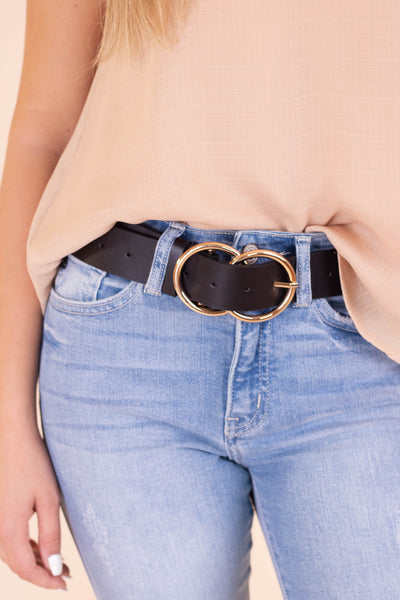 Sassy Black Vegan Leather Belt- Belt With Gold Double Buckle- $14- Juliana's Boutique