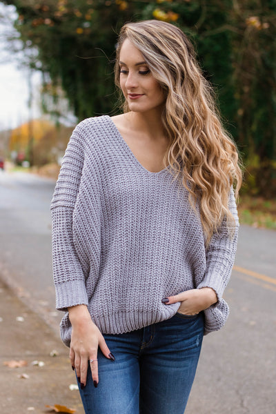 Comfy Knit Sweater- Women's Oversized Grey Sweater- $38- Juliana's Boutique