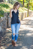 Black Satin Lace Tank Top- Women's Black Lace Cami- $34