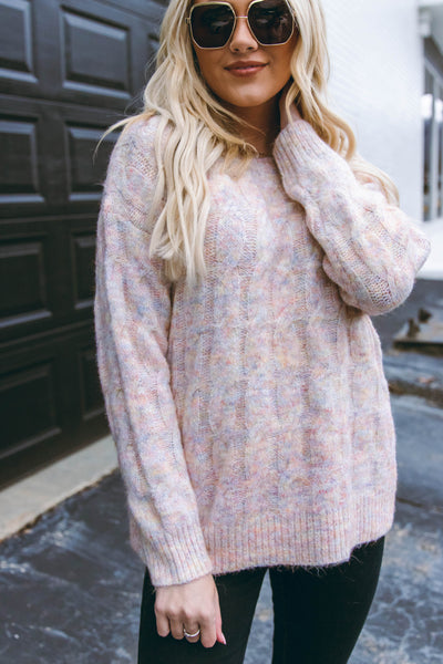 Women's Chunky Knit Sweater- Multi Colored Sweater- Women's Cute Oversized Knit Sweater- $46