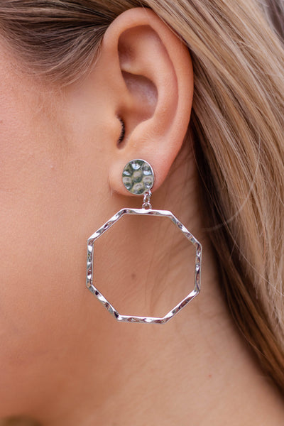 Silver Octagon Hoop Earrings- Trendy Silver Jewelry- $12