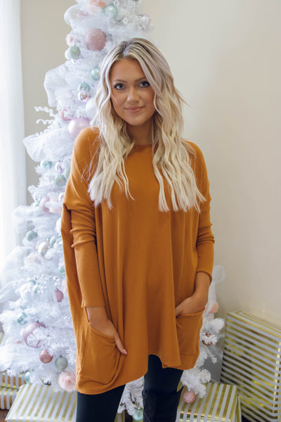 Luxuriously Soft Sweater- Caramel  Sweater Feels Like Butter- $36- Juliana's Boutique