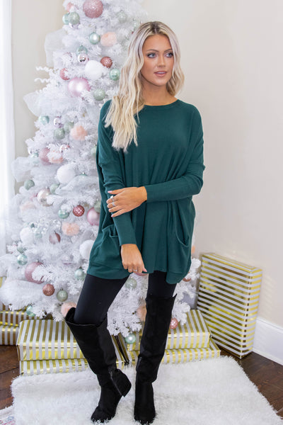 Luxuriously Soft Sweater- Hunter Green Sweater Feels Like Butter- $36- Juliana's Boutique