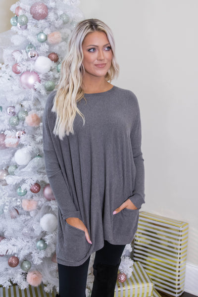Luxuriously Soft Sweater- Charcoal Sweater Feels Like Butter- $36- Juliana's Boutique