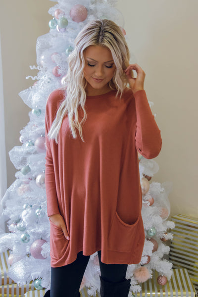 Luxuriously Soft Sweater- Brick Sweater Feels Like Butter- $36- Juliana's Boutique