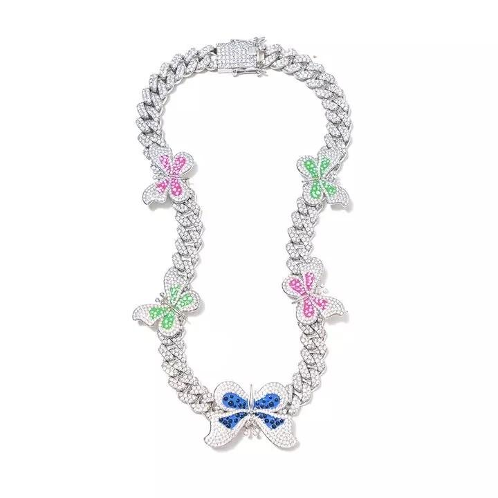 Multicolor Cuban Link Butterfly Necklace