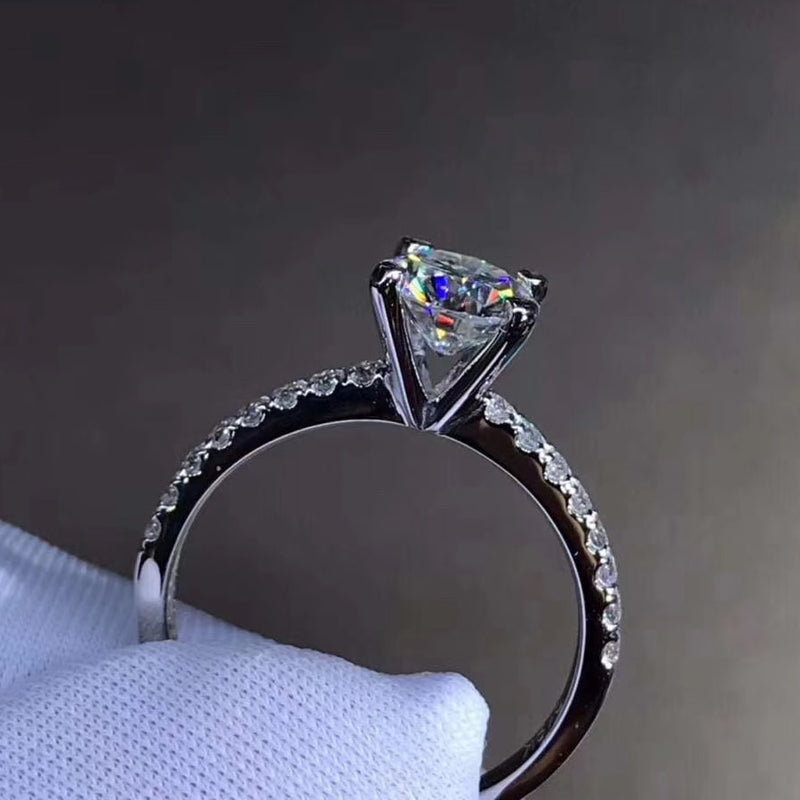 925 sterling silver 1ct 2ct 3ct Round Brilliant Cut Moissanite ring lab Diamond Wedding Engagement jewelry Four prong