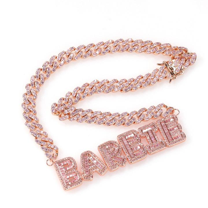 Cuban Link Baguette Name Necklace