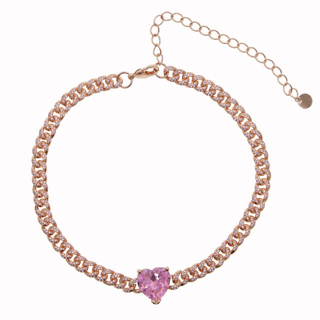 Cuban Link Heart Choker Necklace