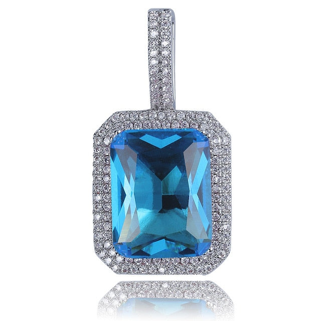 Iced Out Bling Gem Stones Solitaire Pendant Necklace