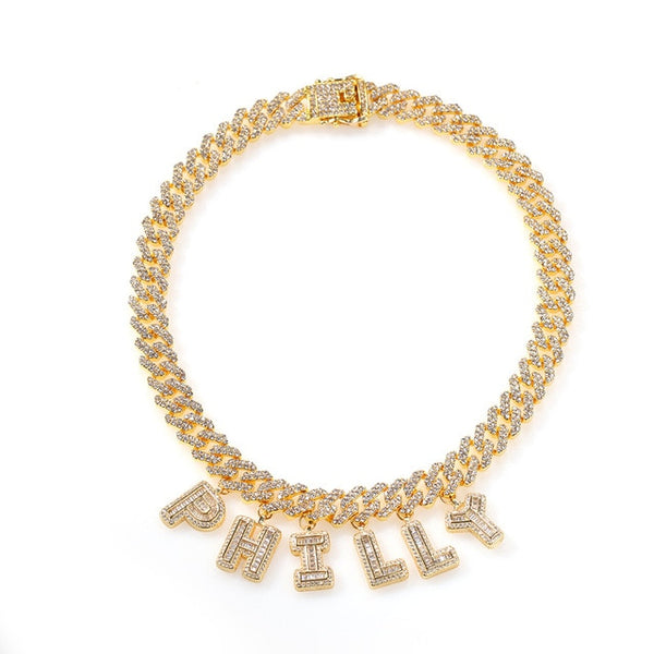 Cuban Link Baguette Name Necklace, Cuban Link Anklet, Cuban Link Bracelet