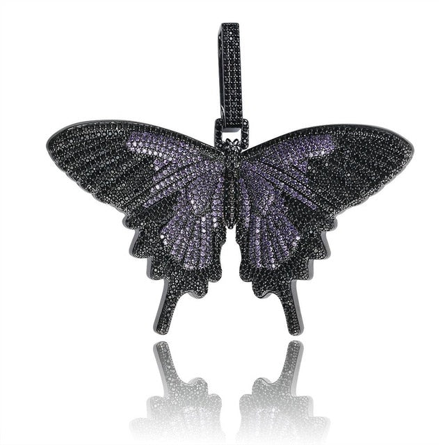 New Full Iced Out Butterfly Wings Pendant Necklace With 12mm Cuban