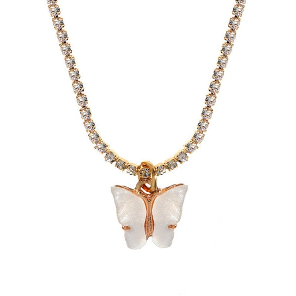 Dainty Tennis Chain Butterfly Pendant Necklace