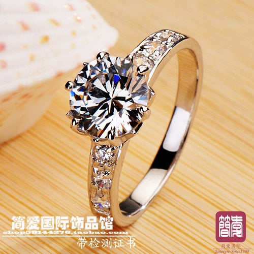 Classic round shaped 1.5 CT synthetic stone wedding rings sterling sliver jewelry  engagement rings for women