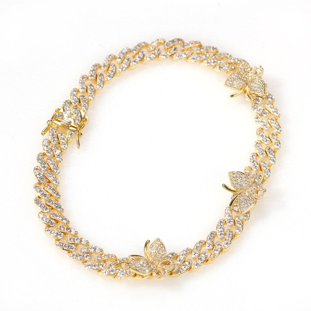Cuban Link Butterfly Anklet and Bracelet