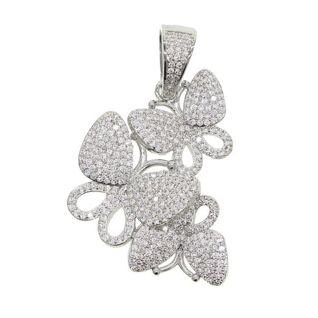 Tennis Chain Butterfly Pendant Necklace