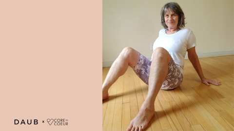 Catherine C2C Instructor wearing the Biker Shorts and Savannah Crop in Fig