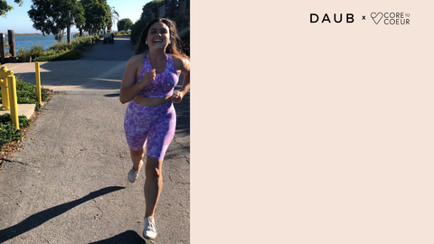 Madison Page C2C Instructor wearing the Biker Shorts and Savannah Crop in Lilac