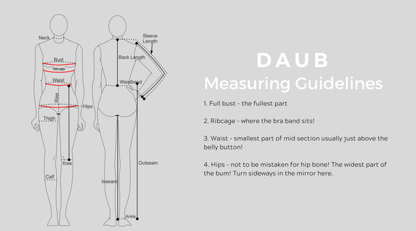 daub measuring guidelines picture - how to measure your body