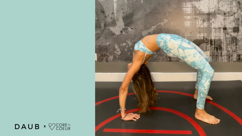 Maria Teresa Core to Coeur Instructor wearing the Riley Legging and Taylor Bralette in Teal