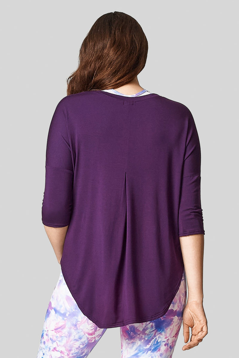 A back view of the Ainsley Tee with back pleat and 3/4 length sleeves made from Modal.