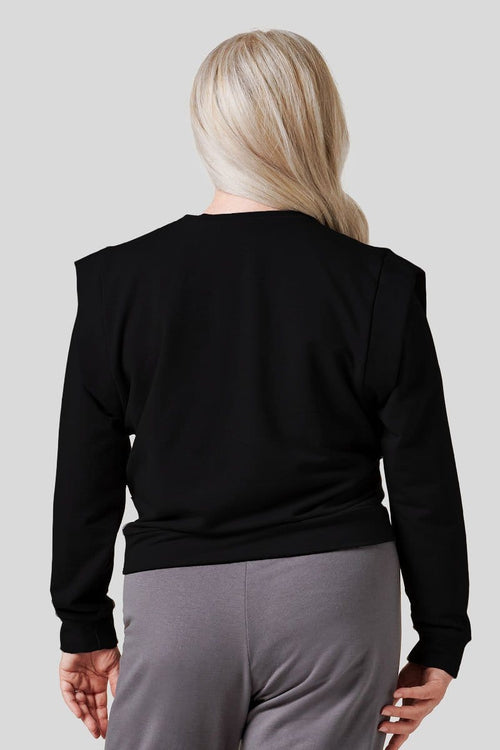 Capped Sleeve Sweatshirt in Black