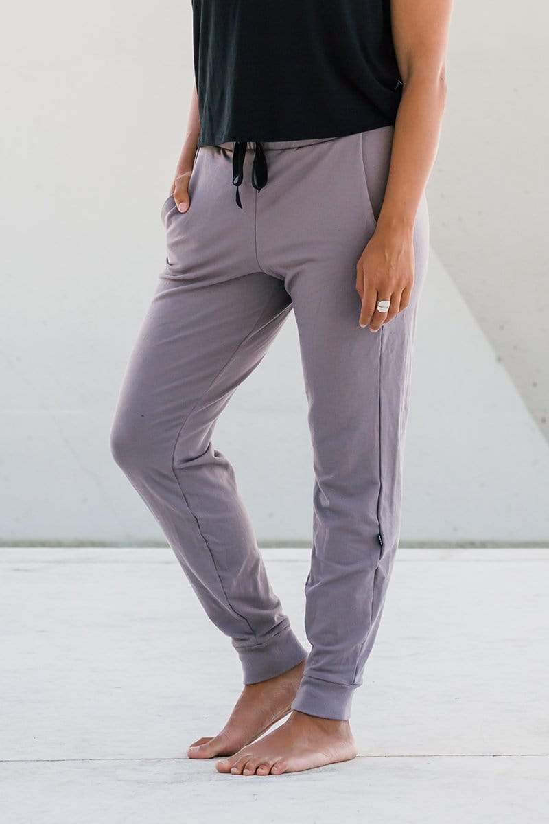 Woman wearing Freedom Jogger in Mink Beige Taupe made from OEKO-TEX fabrics sustainable basics, dressy joggers for work and work from home.