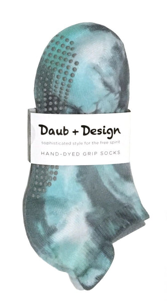 Grippy Socks in Teal and Smoke