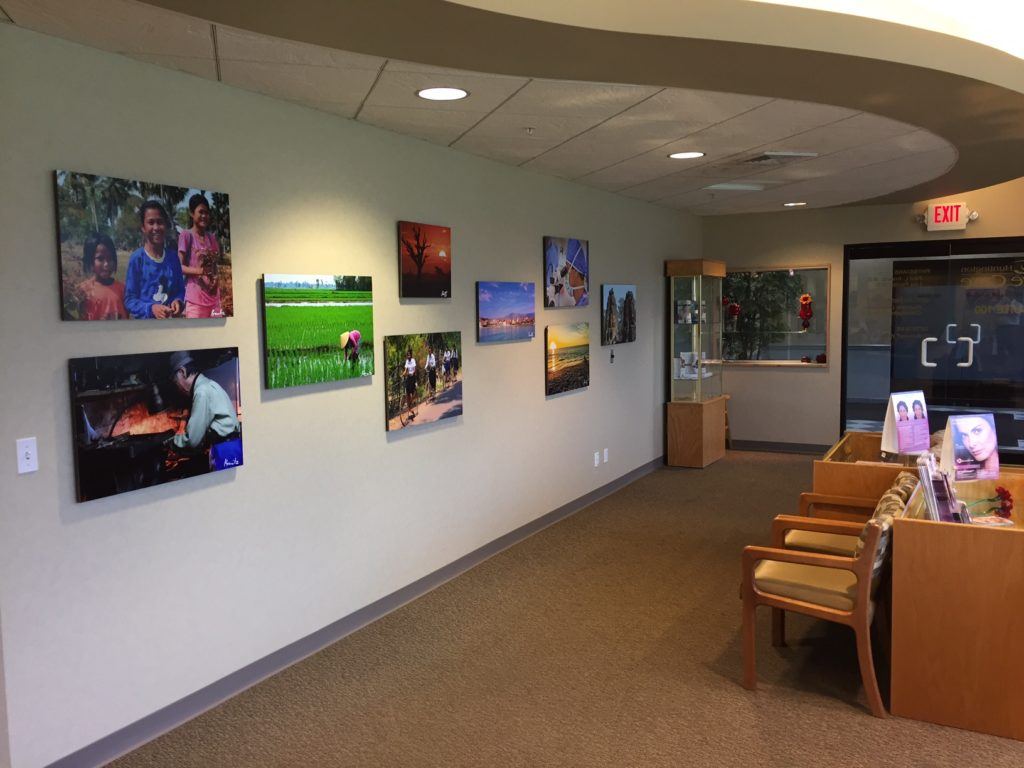 Dr. Paul Krawitz's photographs are displayed throughout his office.