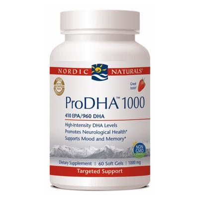 Nordic Naturals Pro-DHA is an omega 3 supplement containing mostly DHA rather than EPA, for brain and eye health support.