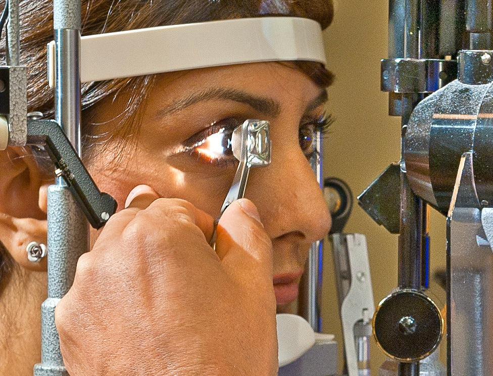gonioscopic examination of the angle of the eye
