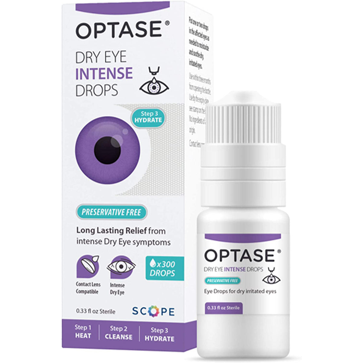 Optase Dry Eye Intense Eye Drops - Preservative Free - 0.33 fl oz - 300 dose Bottle