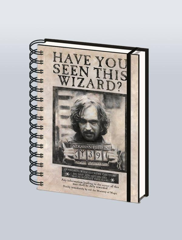 HARRY POTTER - CADERNO DE ARGOLAS A5 WANTED SIRIUS BLACK
