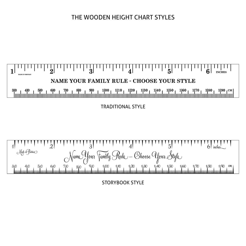 Standard Deluxe Ash Vintage Ruler Height Chart