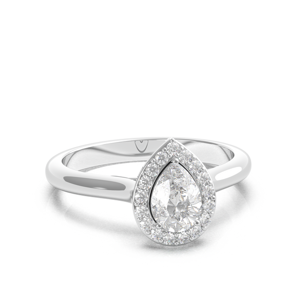 Pear Diamond Halo Ring (ARTHR040)