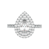 Pear Diamond Double Halo Engagement Ring (ARTDHR105)
